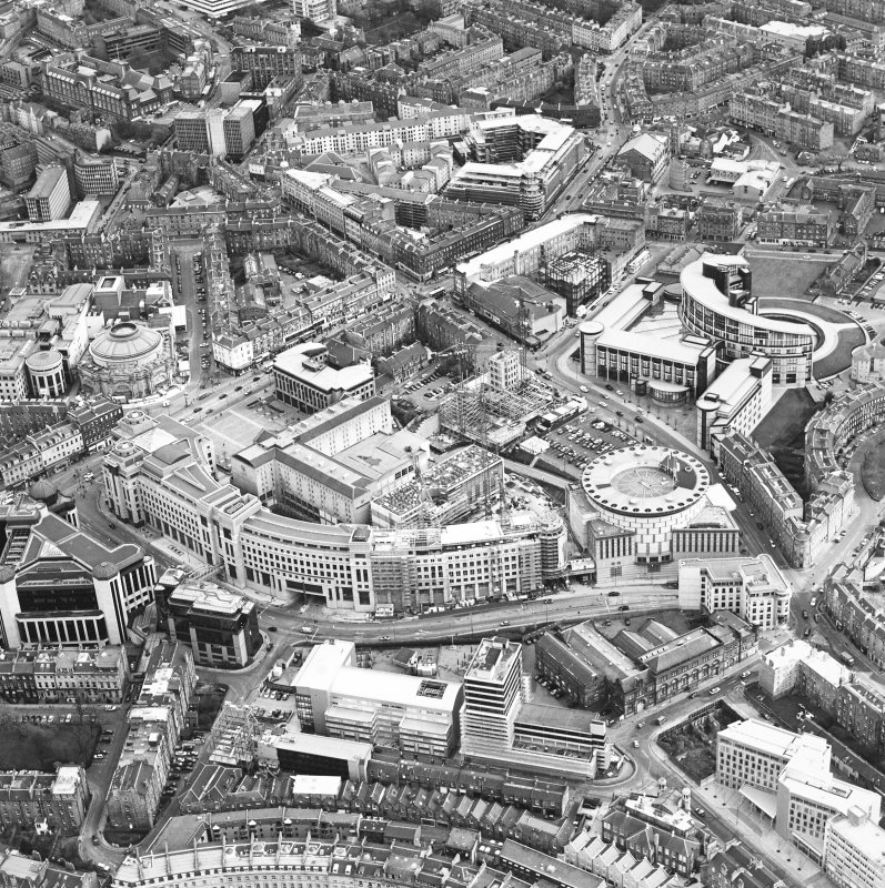 Oblique aerial view centred on the hotel, offices and conference centre with Scottish Widows offices adjacent, taken from the WNW.