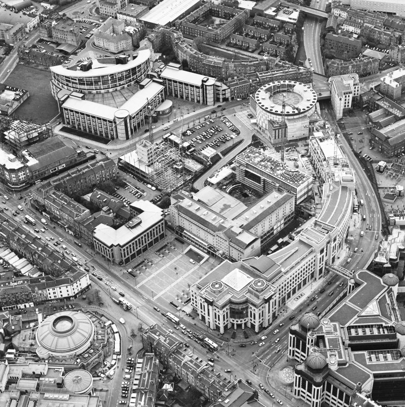 Oblique aerial view centred on the hotel, offices and conference centre with Scottish Widows offices adjacent, taken from the NE.