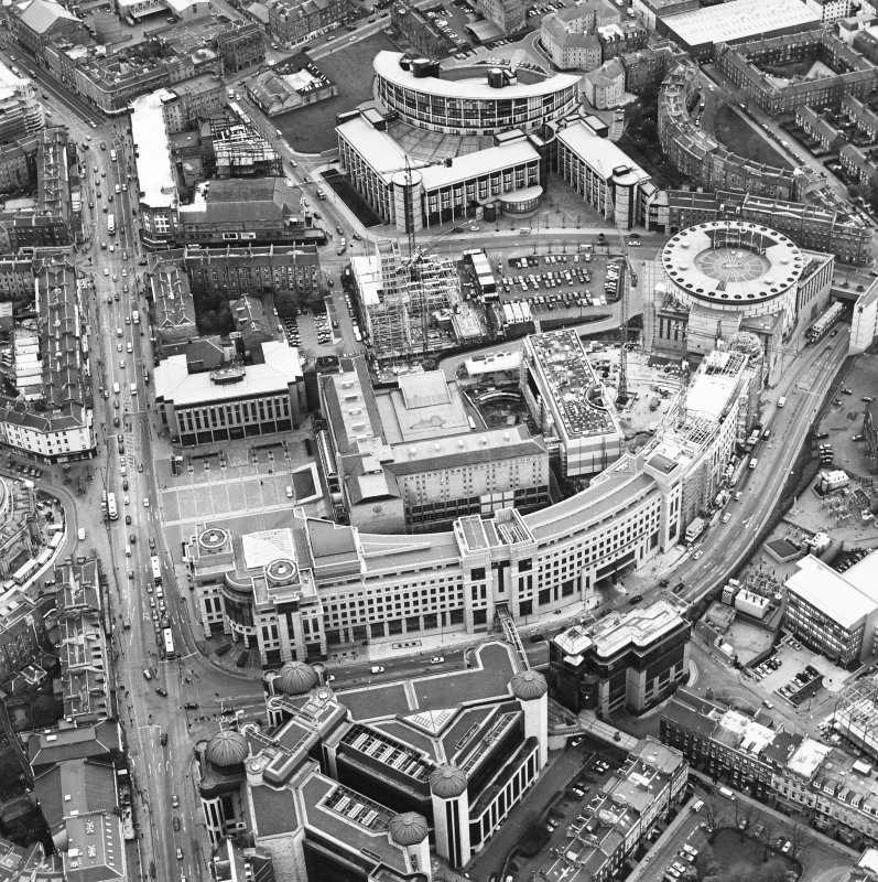 Oblique aerial view centred on the hotel, offices and conference centre with Scottish Widows offices adjacent, taken from the NNW.