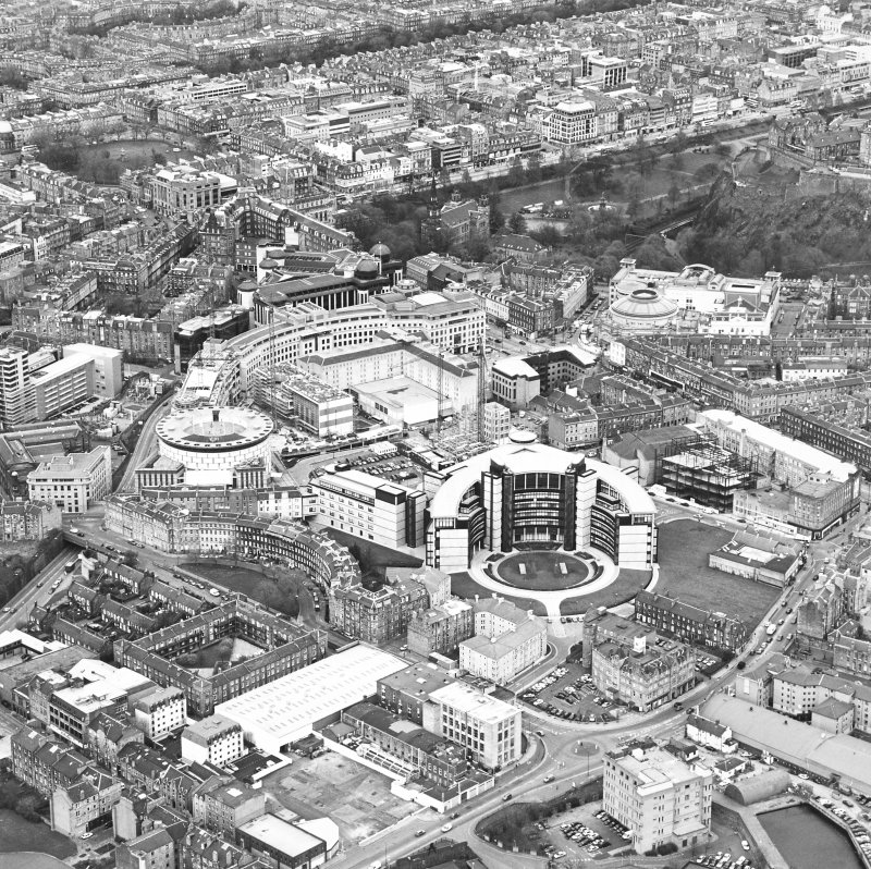 Oblique aerial view centred on the hotel, offices and conference centre with Scottish Widows offices adjacent, taken from the SW.