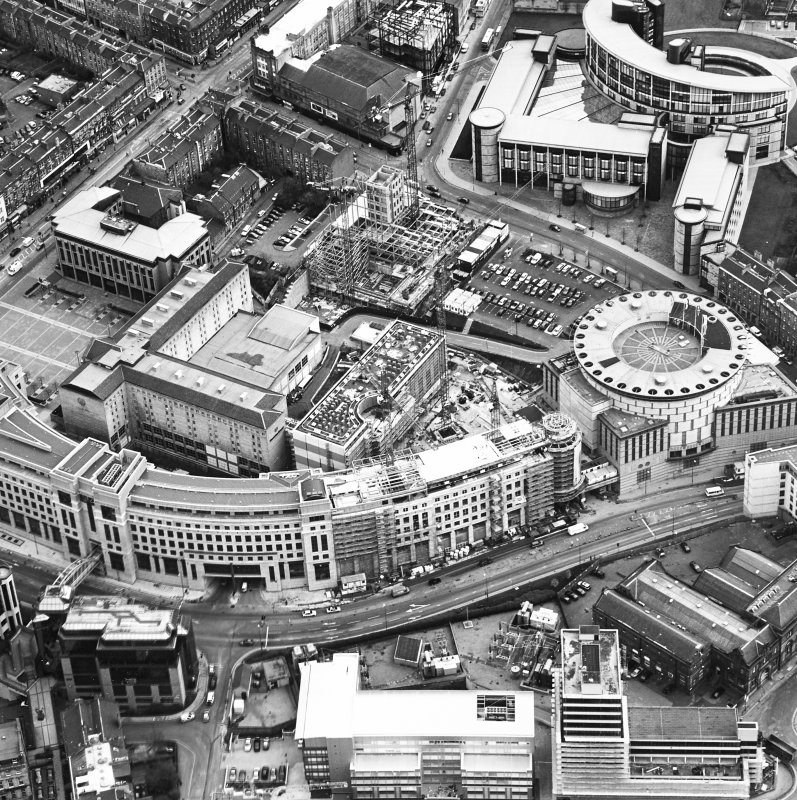 Oblique aerial view centred on the hotel, offices and conference centre with Scottish Widows offices adjacent, taken from the NW.
