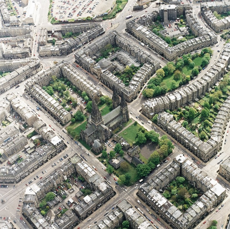 Oblique aerial view of the west end of Edinburgh New Town centred on the cathedral, taken from the N.