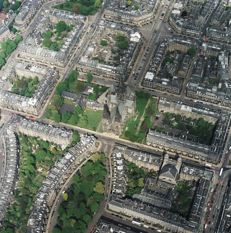 Oblique aerial view of the west end of Edinburgh New Town centred on the cathedral, taken from the SSW.