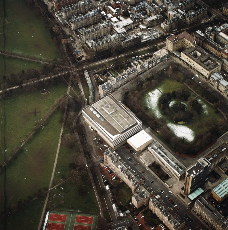 Oblique aerial view centred on the library with George Square and University buildings adjacent, taken from the ESE.