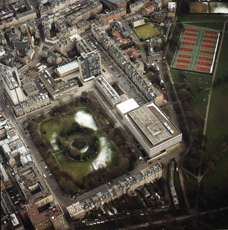 Oblique aerial view centred on the library with George Square and University buildings adjacent, taken from the WNW.