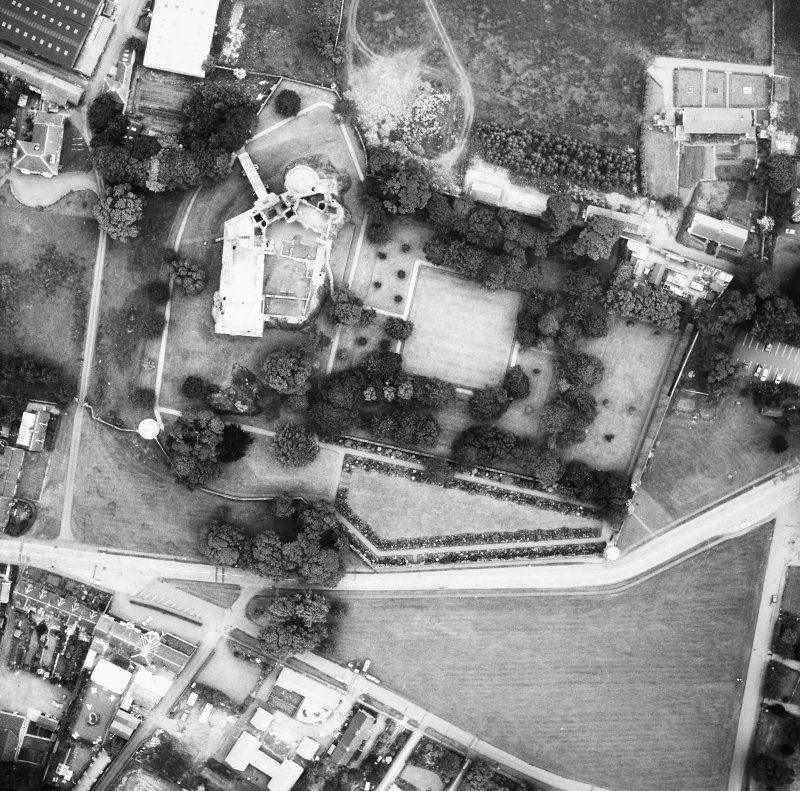 Oblique aerial view from N.