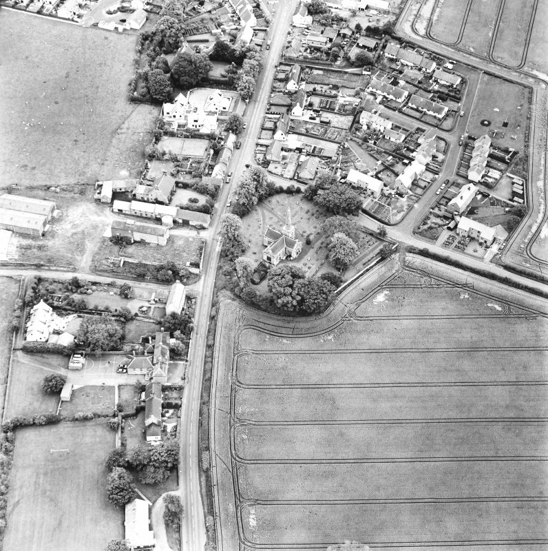 East Saltoun, oblique aerial view taken from the NW, centred on the village of Saltoun.