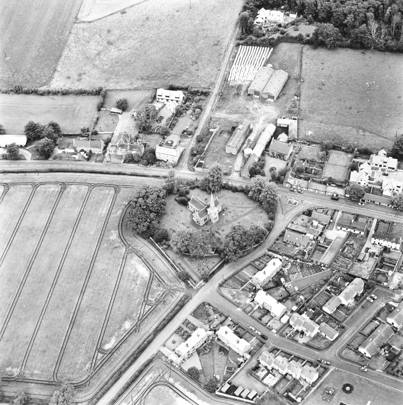 East Saltoun, oblique aerial view taken from the SW, centred on the village of Saltoun.