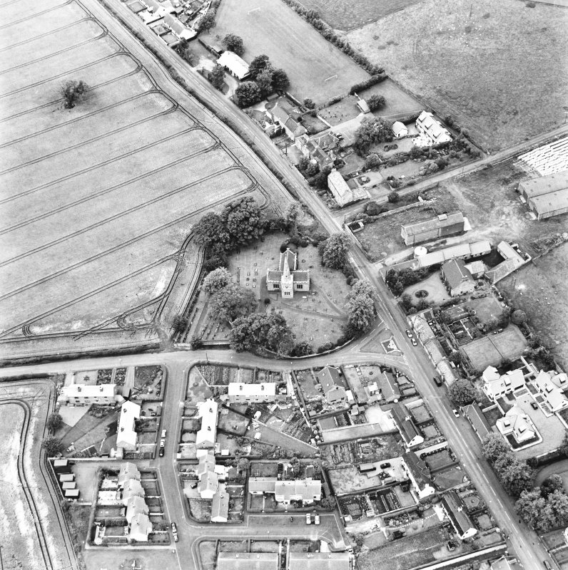 East Saltoun, oblique aerial view taken from the SSE, centred on the village of Saltoun.