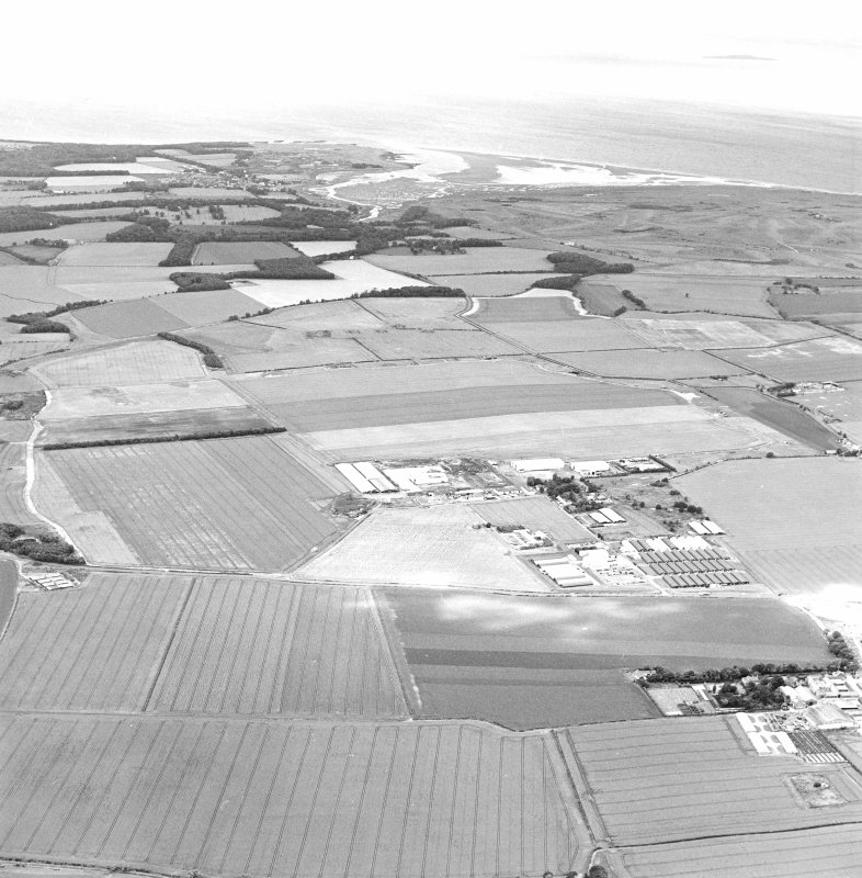 Oblique aerial view of Drem Airfield centred on the remains of the airfield, taken from the E.