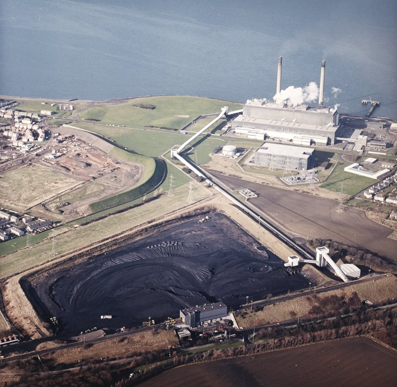 Oblique aerial view centred on the power station and coal store, taken from the ESE.