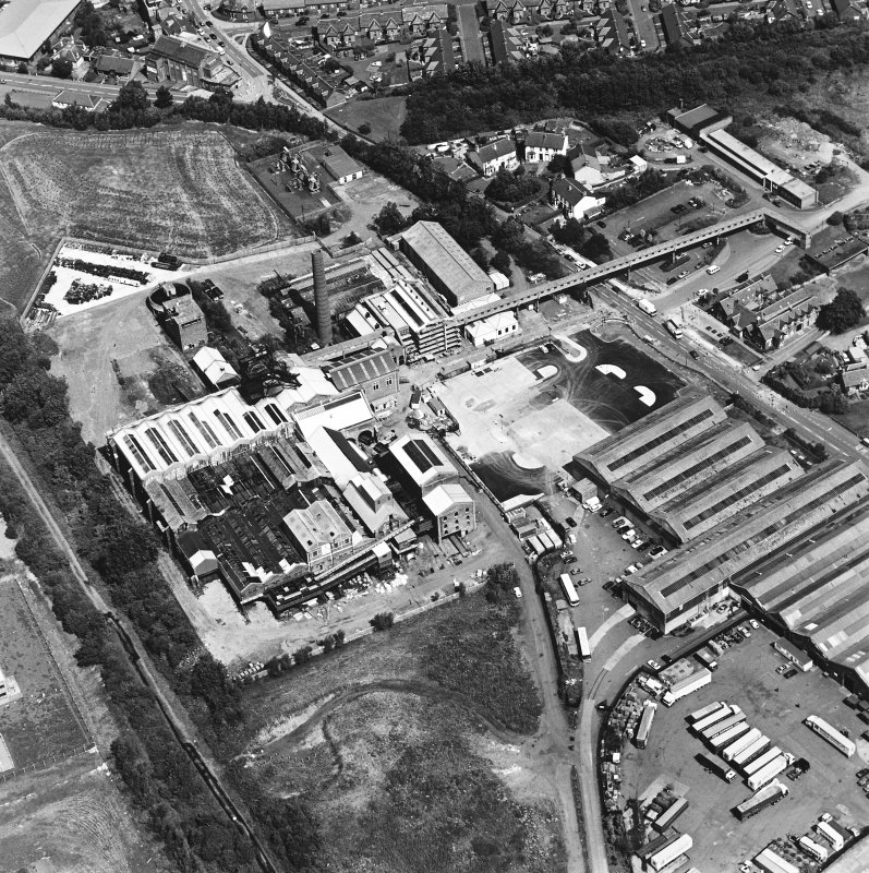 Oblique aerial view centred on Lady Victoria Colliery, taken from the SSW.
