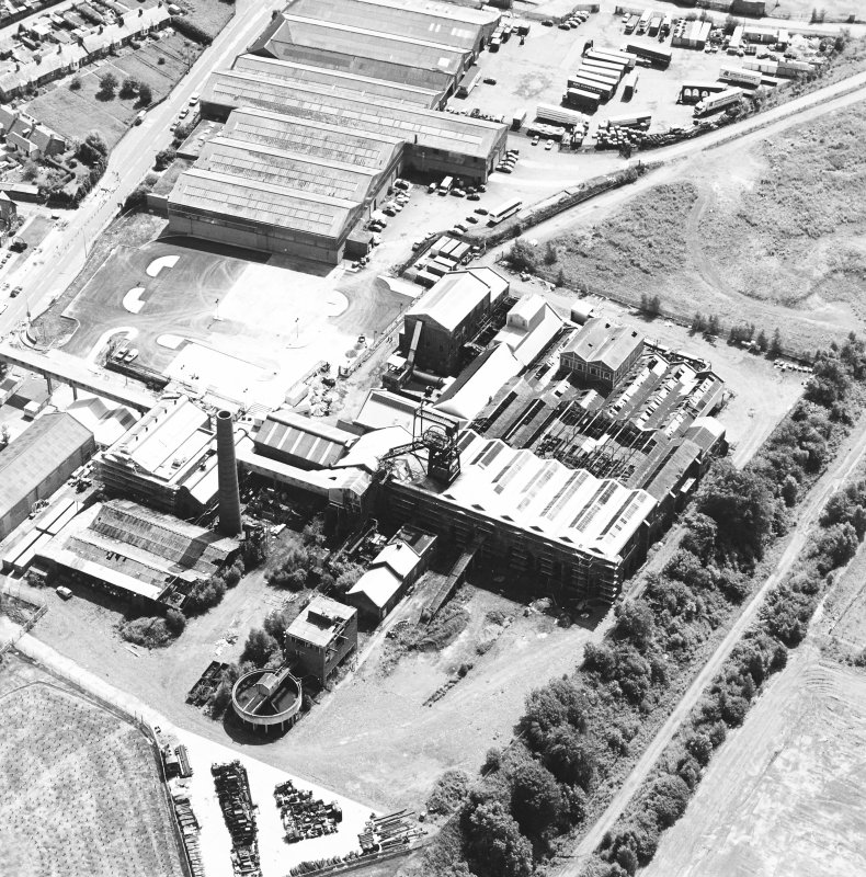 Oblique aerial view centred on Lady Victoria Colliery, taken from the NW.