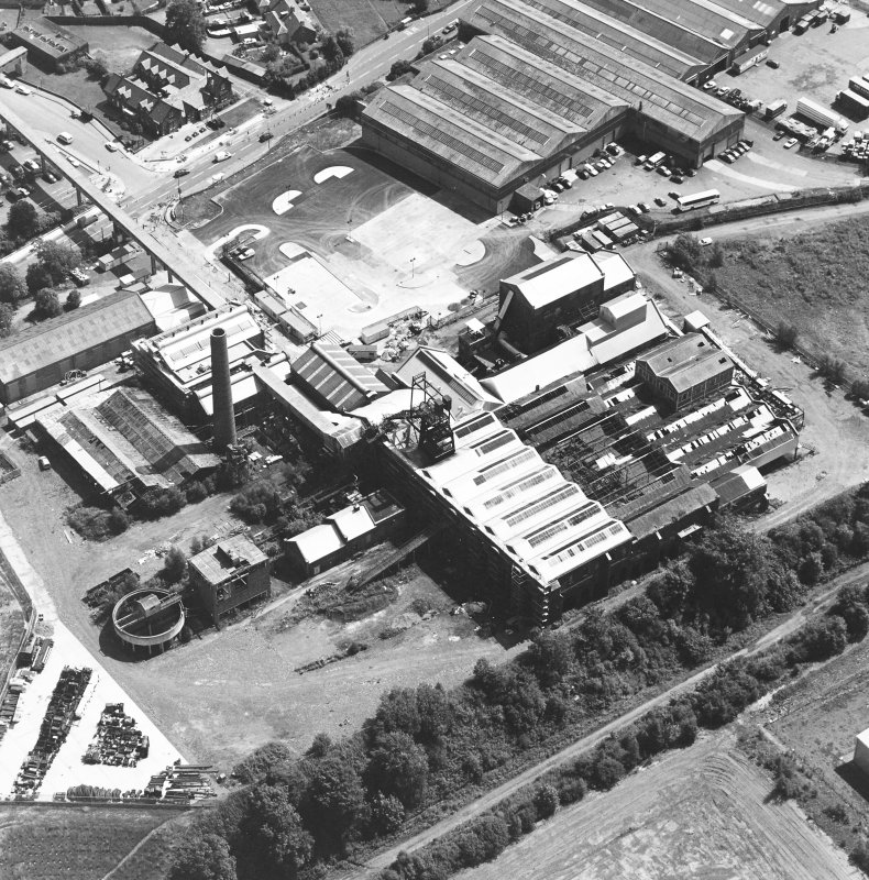 Oblique aerial view centred on Lady Victoria Colliery, taken from the WNW.