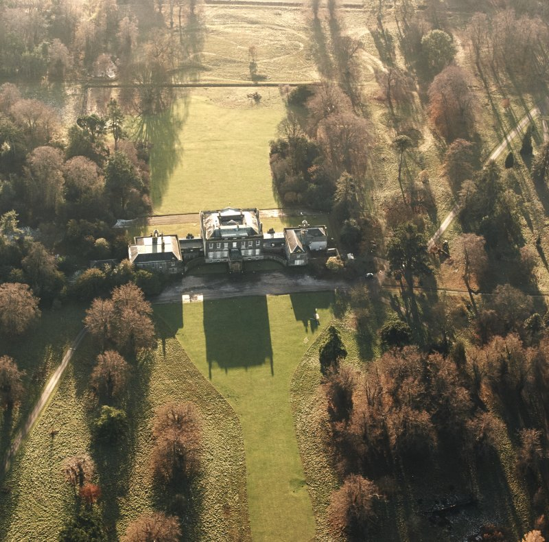 Preston Hall, oblique aerial view, taken from the SSE, centred on the country house.
