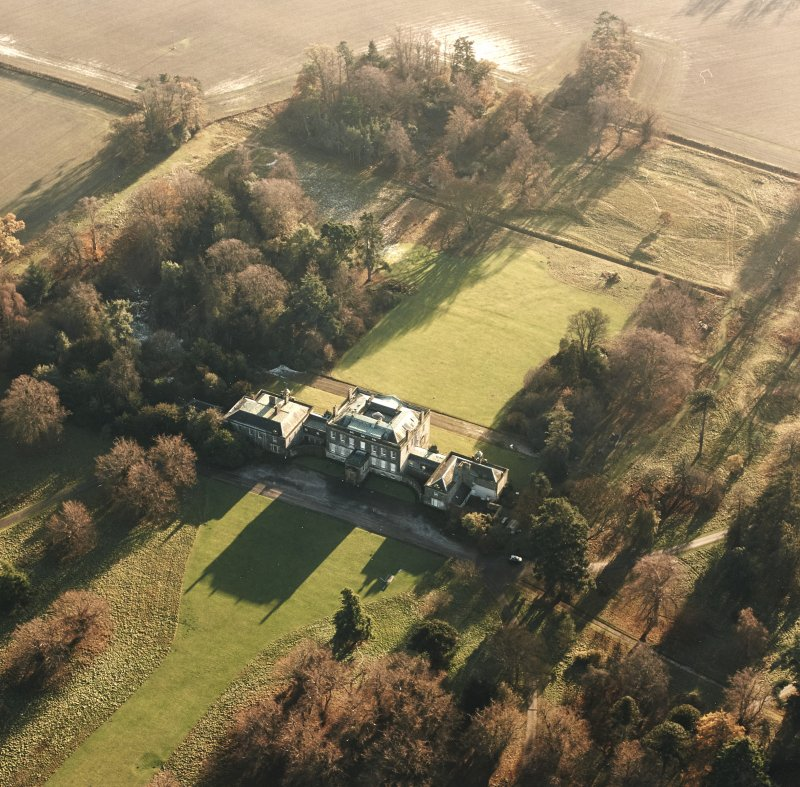 Preston Hall, oblique aerial view, taken from the SE, centred on the country house.
