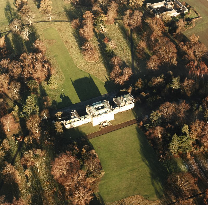 Preston Hall, oblique aerial view, taken from the SSW, centred on the country house.