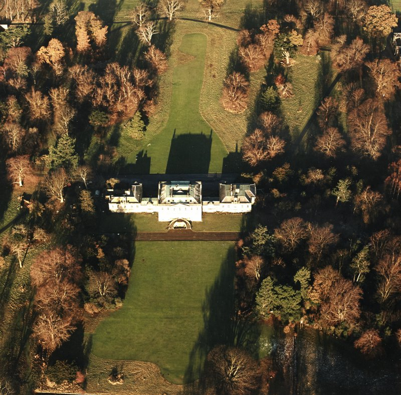Preston Hall, oblique aerial view, taken from the S, centred on the country house.