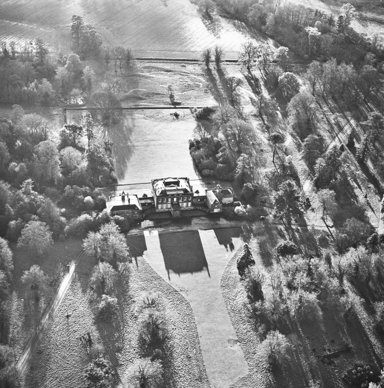 Preston Hall, oblique aerial view, taken from the N, centred on the country house.
