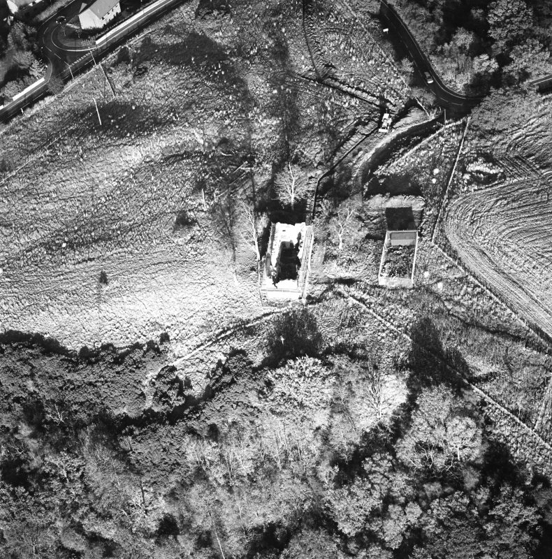 Oblique aerial view of Penicuik, Castle Brae, Uttershill Castle centred on the remains of a  Tower-House, taken from the SW.