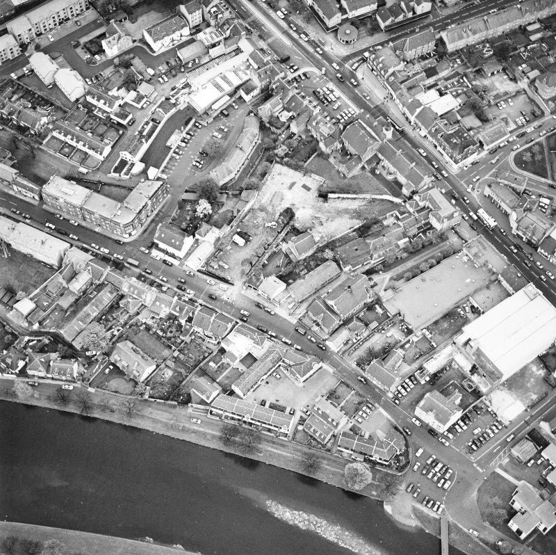Aerial view of High Street and Mill Street in Musselburgh town centre, taken from the NW.