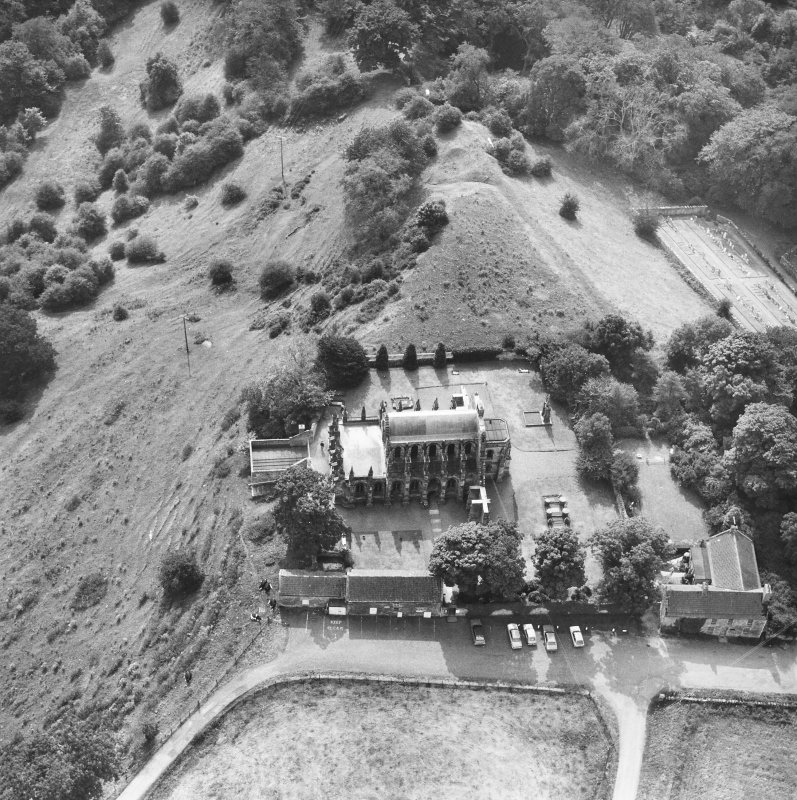 Roslin, Roslin Chapel. Aerial view from North.
