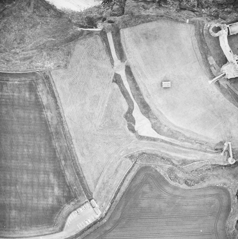 Aerial view of land to W of castle.