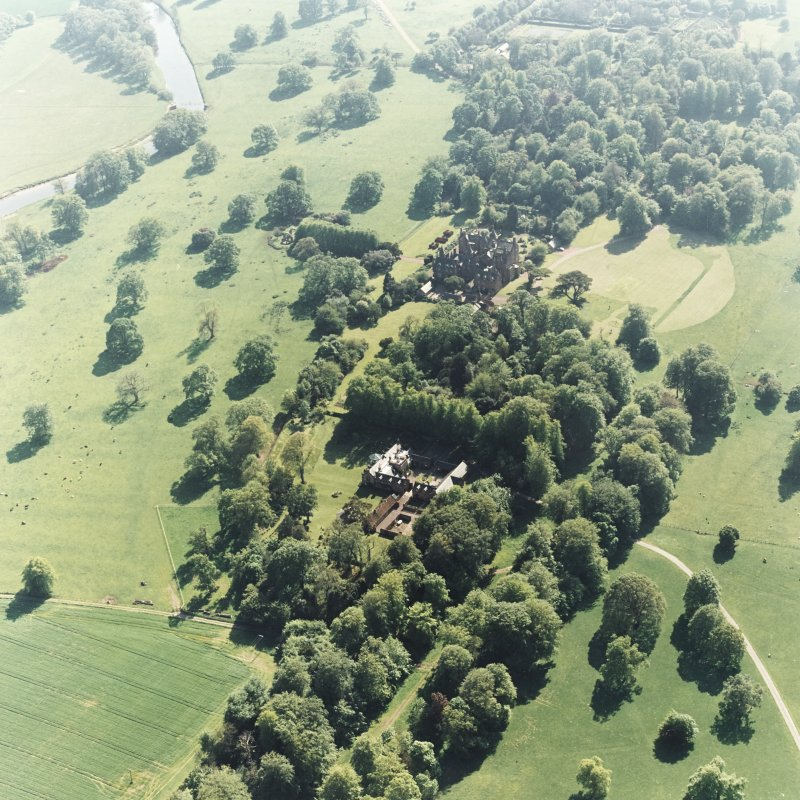 Aerial view of Tyninghame House, the site of Tyninghame manse, St Baldred's church and the stables and dairy, taken from the NE.