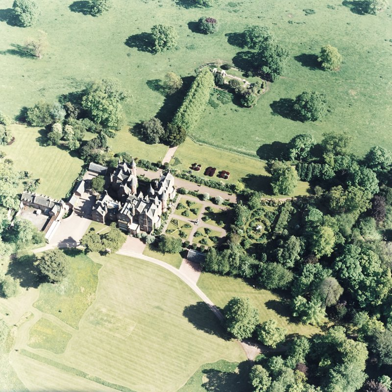 Aerial view of Tyninghame House, the site of Tyninghame manse, St Baldred's church, the sundial and gardens and the clock tower court, taken from the N.