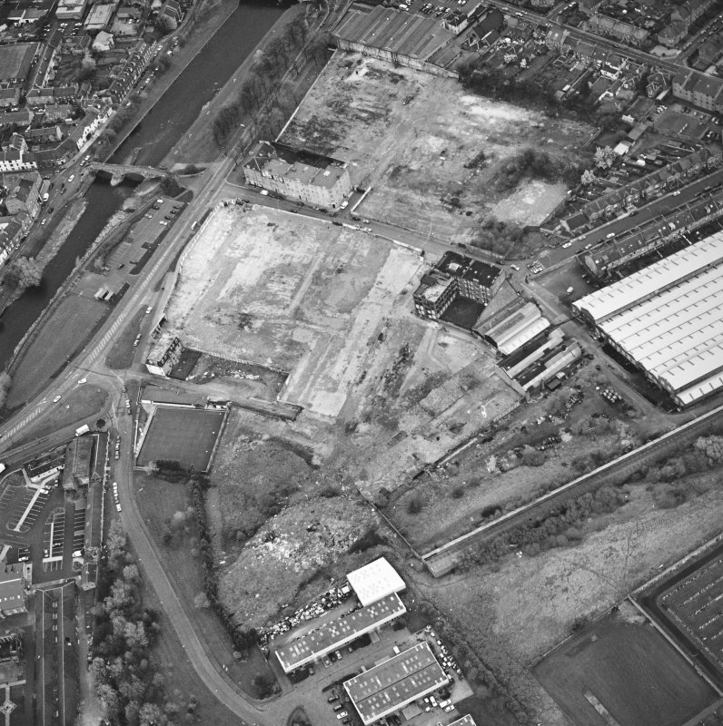 Aerial view of Brunton Ltd wire works, excavation and River Esk bridges, taken from the S.