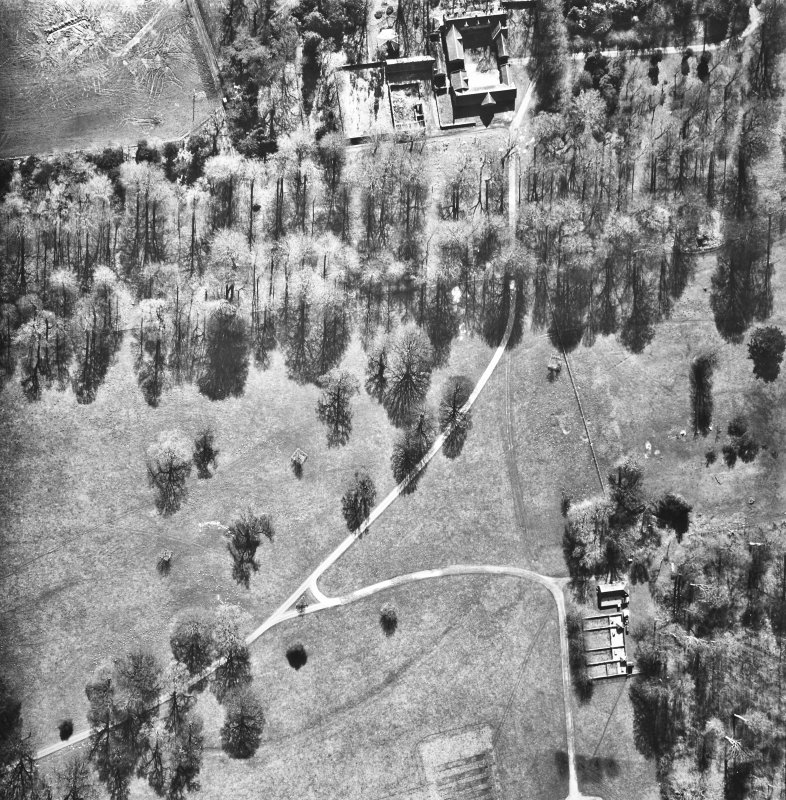 Aerial view of the avenue. RCAHMSAP 81 The Avenue, Ancillary Buildings & Policies