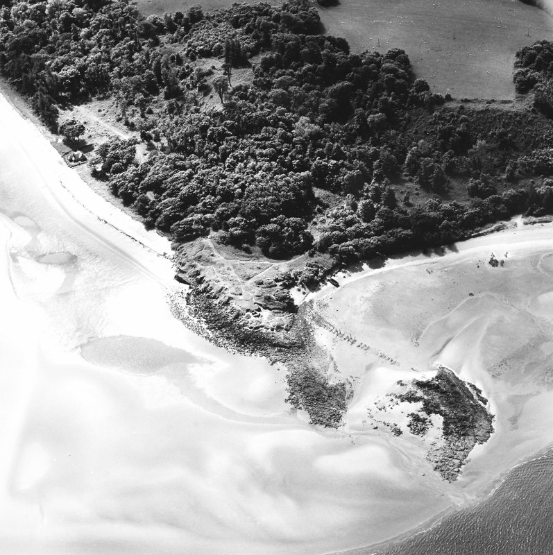 Oblique aerial view of Hound Point centred on the possible remains of a pier, taken from the N.