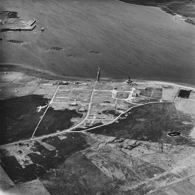 Hoy, Rinnigill, oblique aerial view, taken from the S, centred on Rinnigill Military Camp.