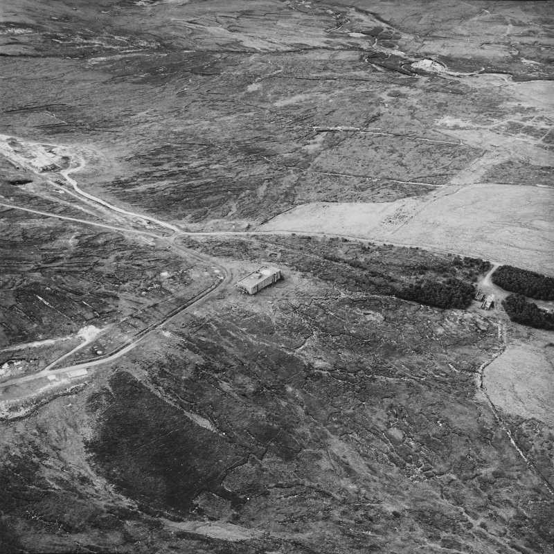Hoy, Wee Fea, oblique aerial view, taken from the S, centred on the Naval Signal Station, and showing ruined buildings and a water tank in the centre right of the photograph.