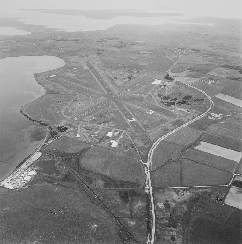 Oblique aerial view from W.  Also visible are two pillboxes forming part of the Inganess Stop Line.