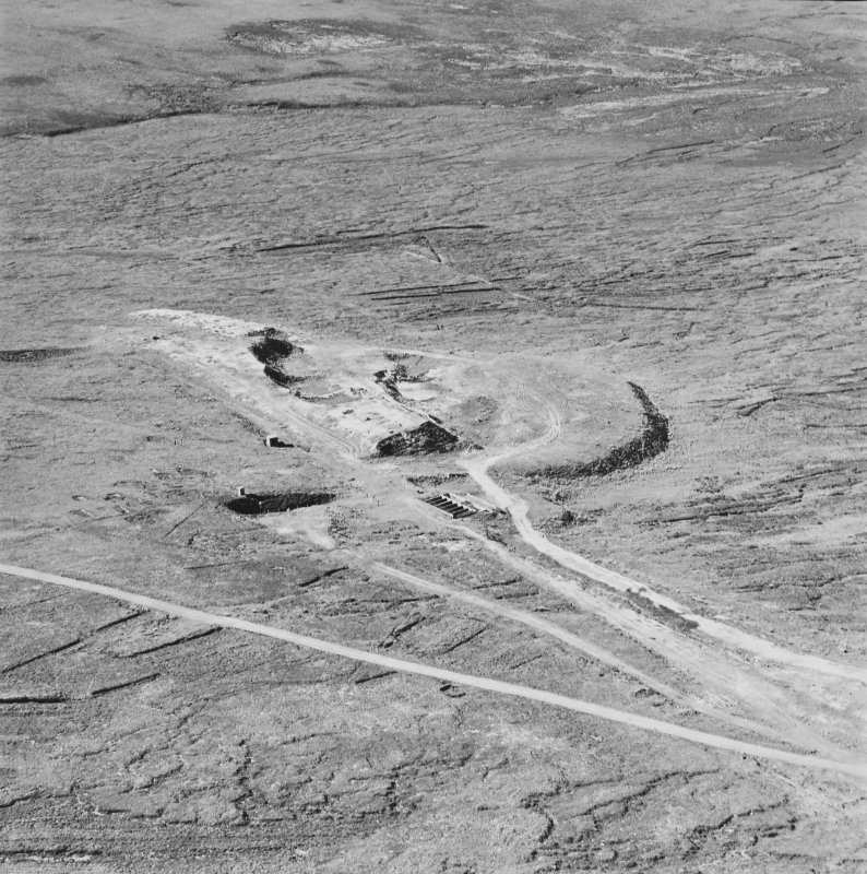 Aerial view of Orkney, Hoy, Lyness, Royal Naval Oil terminal, view from E of the workings near to the tunnel entrance for the underground Oil Tanks at Wee Fea.