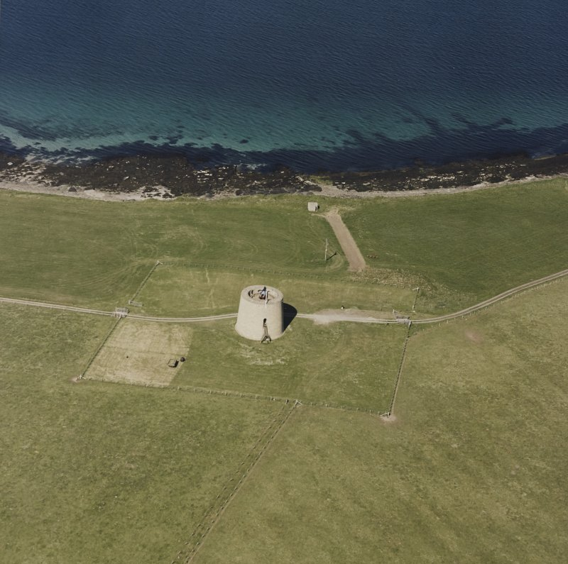Aerial view of Orkney, Hoy, Hackness Martello Tower from the W.