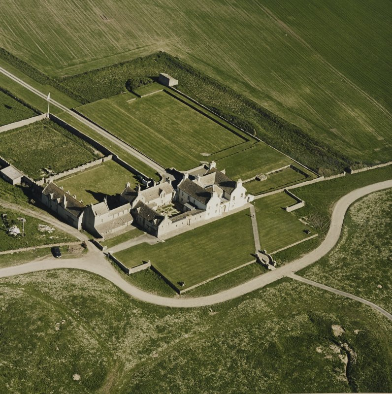 Aerial view of Orkney, Bay of Skaill, Skaill House, gardens and dovecot, taken from the N.