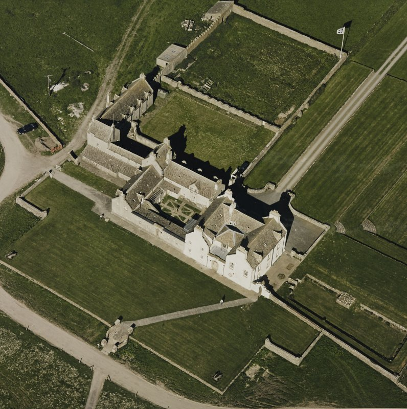 Aerial view of Orkney, Bay of Skaill, Skaill House, gardens, taken from the N.