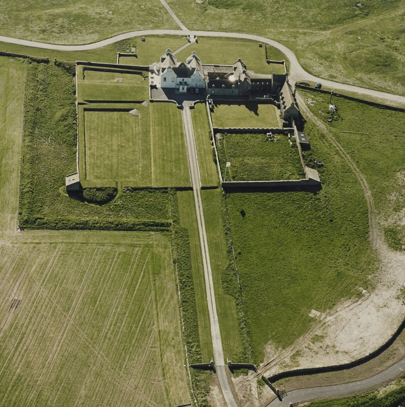 Aerial view of Orkney, Bay of Skaill, Skaill House, gardens, and dovecot, taken from the SE.