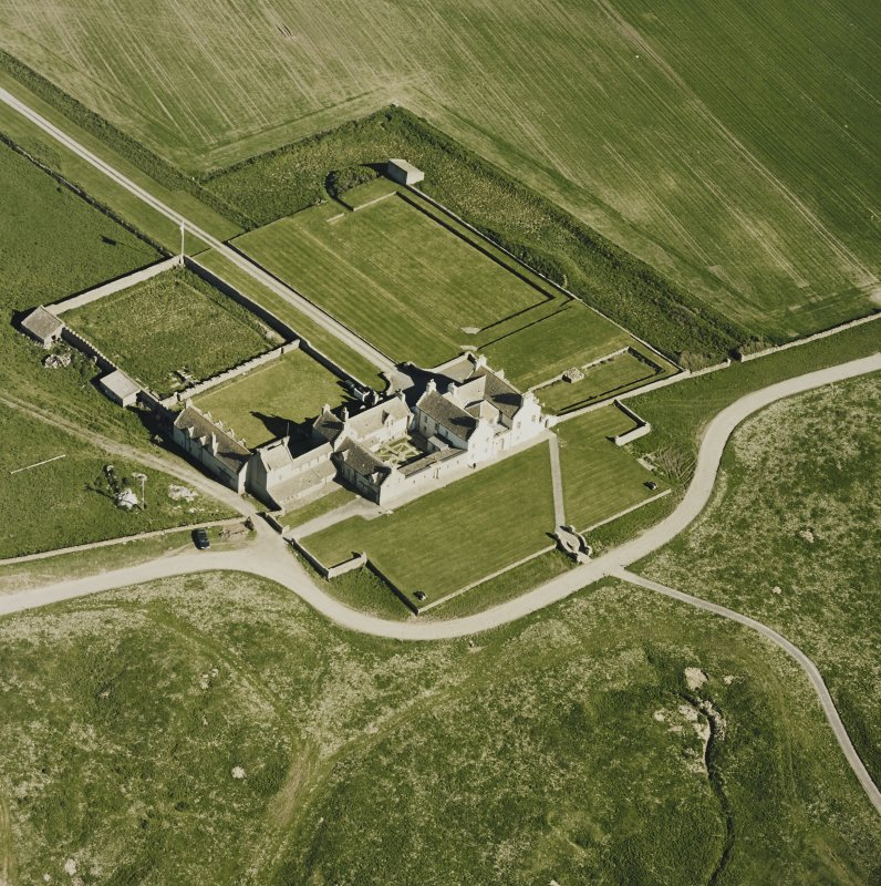 Aerial view of Orkney, Bay of Skaill, Skaill House, gardens, and dovecot, taken from the N.