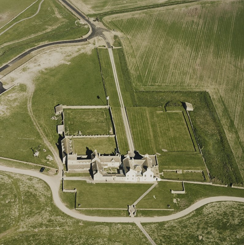 Aerial view of Orkney, Bay of Skaill, Skaill House, gardens, and dovecot, taken from the NW.
