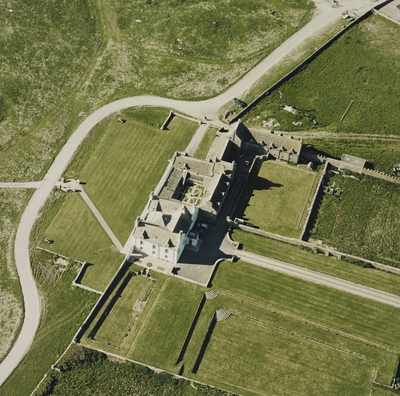 Aerial view of Orkney, Bay of Skaill, Skaill House and gardens, taken from the SW. Also, visible is the central courtyard of the house.