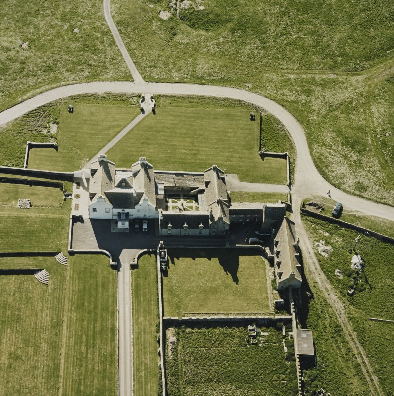 Aerial view of Orkney, Bay of Skaill, Skaill House and gardens, taken from the E. Also, visible is the central courtyard of the house.