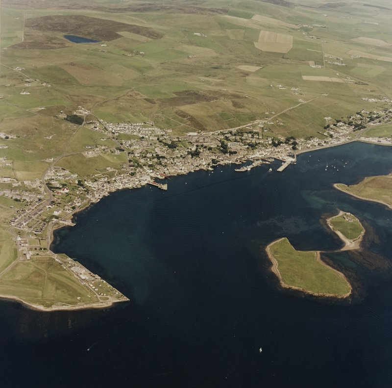 Aerial view of Stromness town and harbour, taken from the SSE.