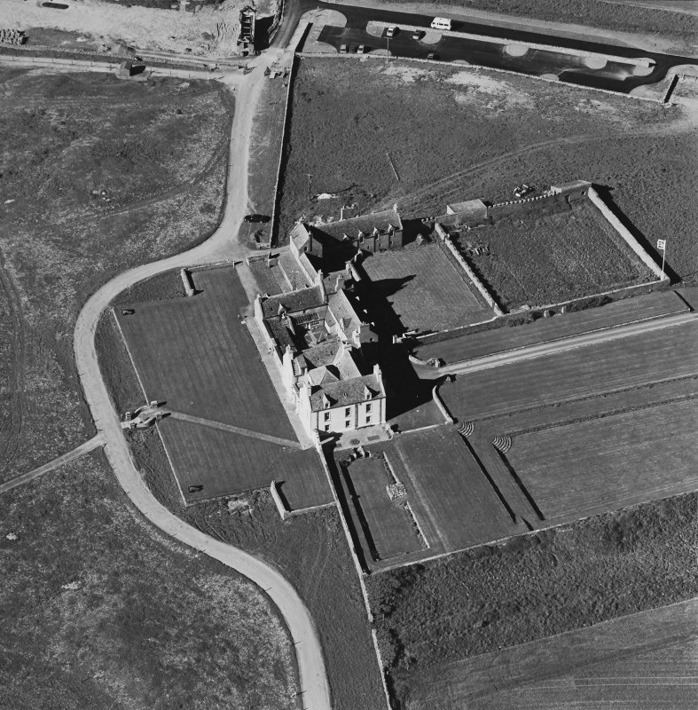Aerial view of Orkney, Bay of Skaill, taken from the S, Skaill House, dovecot and gardens.