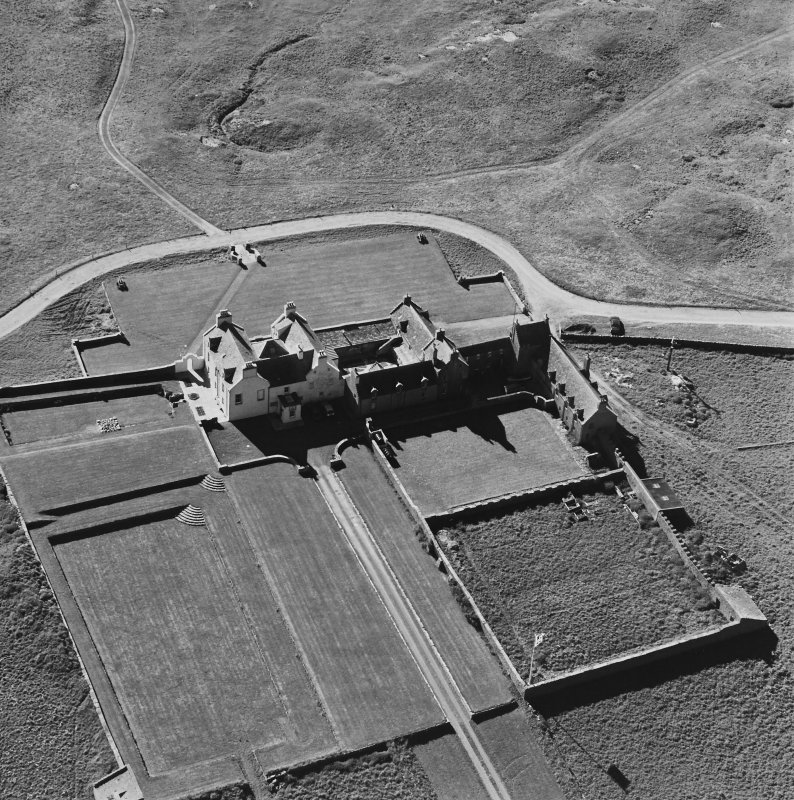 Aerial view of Orkney, Bay of Skaill, taken from the SE, Skaill House, dovecot and gardens.