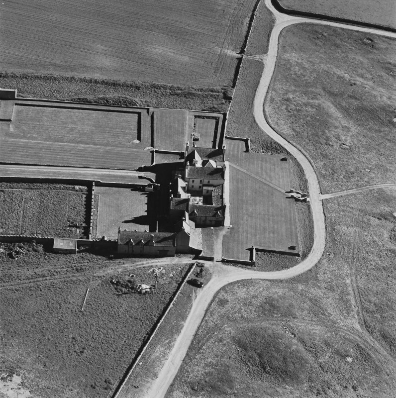Aerial view of Orkney, Bay of Skaill, taken from the NE, Skaill House, dovecot and gardens.
