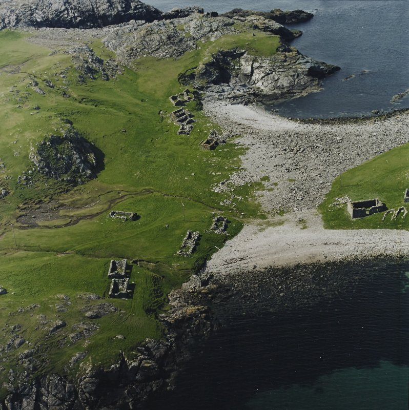 Oblique aerial view centred on the remains of the fishing station, taken from the SE.