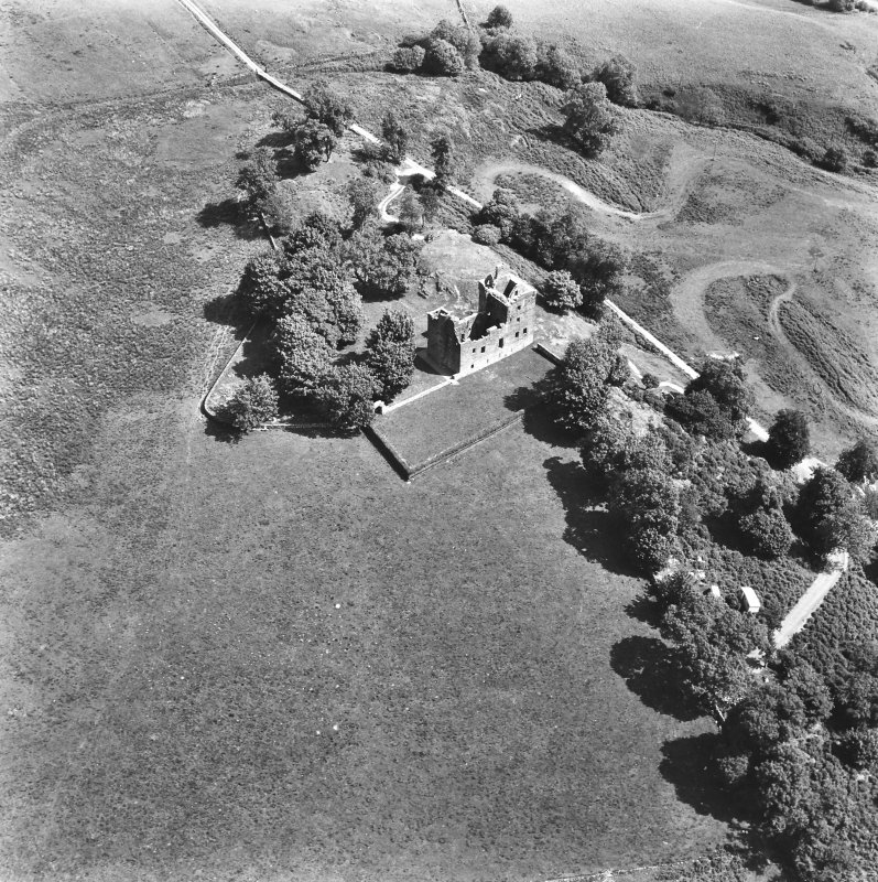 Carnasserie Castle. Oblique aerial view from South-West.
